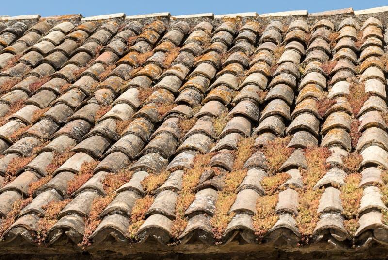 Ντεμοντέ κεραμίδια στεγών ύφους στο αγροτικό κτήριο στην Προβηγκία στοκ εικόνες