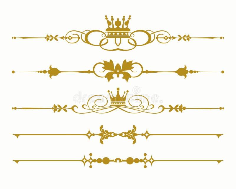 Ντεμοντέ στοιχεία σχεδίου Σύμβολα, κορώνες, καλλιγραφία, διαιρέτες για το σχέδιό σας απεικόνιση αποθεμάτων