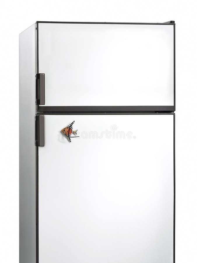 Ντεμοντέ ψυγείο με έναν μαγνήτη ψαριών στοκ φωτογραφία