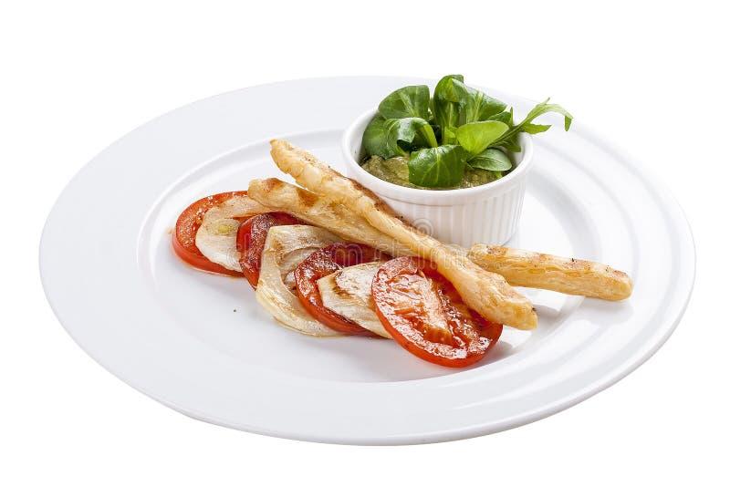 Ντομάτες με mousse αβοκάντο στοκ φωτογραφία