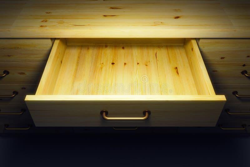 Ντουλάπι με το ανοιγμένο συρτάρι διανυσματική απεικόνιση
