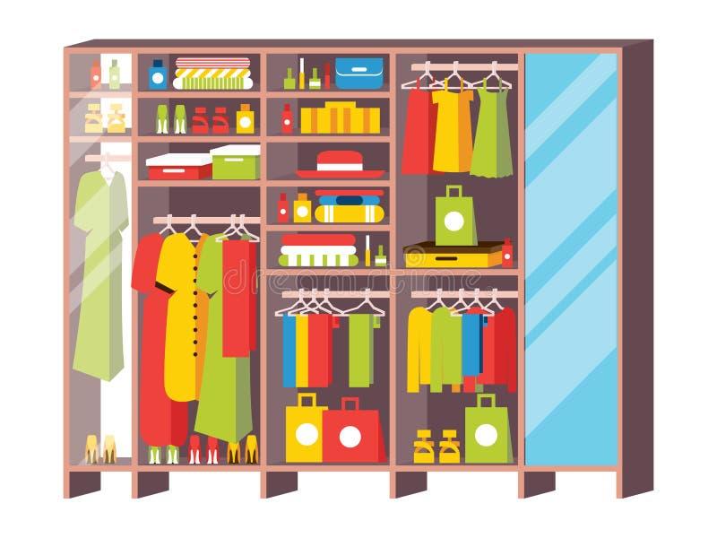 Ντουλάπι ντουλαπών με τα συρτάρια και τα ράφια από το βεστιάριο Isol διανυσματική απεικόνιση