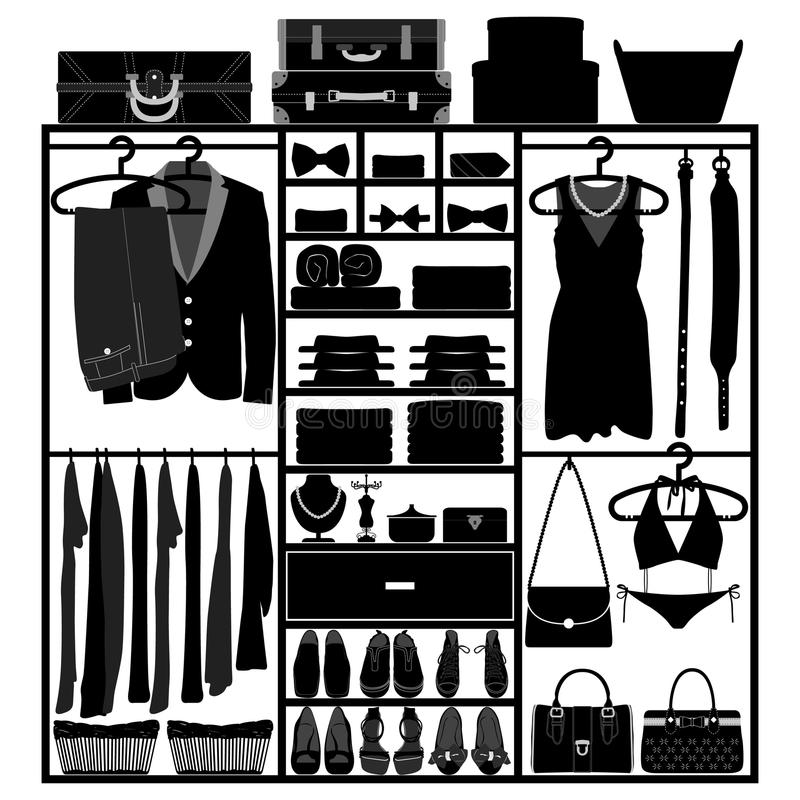 Ντουλάπι ντουλαπών ντουλαπιών για τη μόδα γυναικών ανδρών ελεύθερη απεικόνιση δικαιώματος
