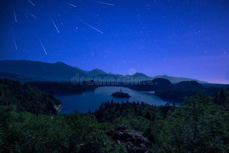 Ντους μετεωριτών Perseid πέρα από την αιμορραγημένη λίμνη στην έναστρη σκοτεινή νύχτα το καλοκαίρι στοκ εικόνες