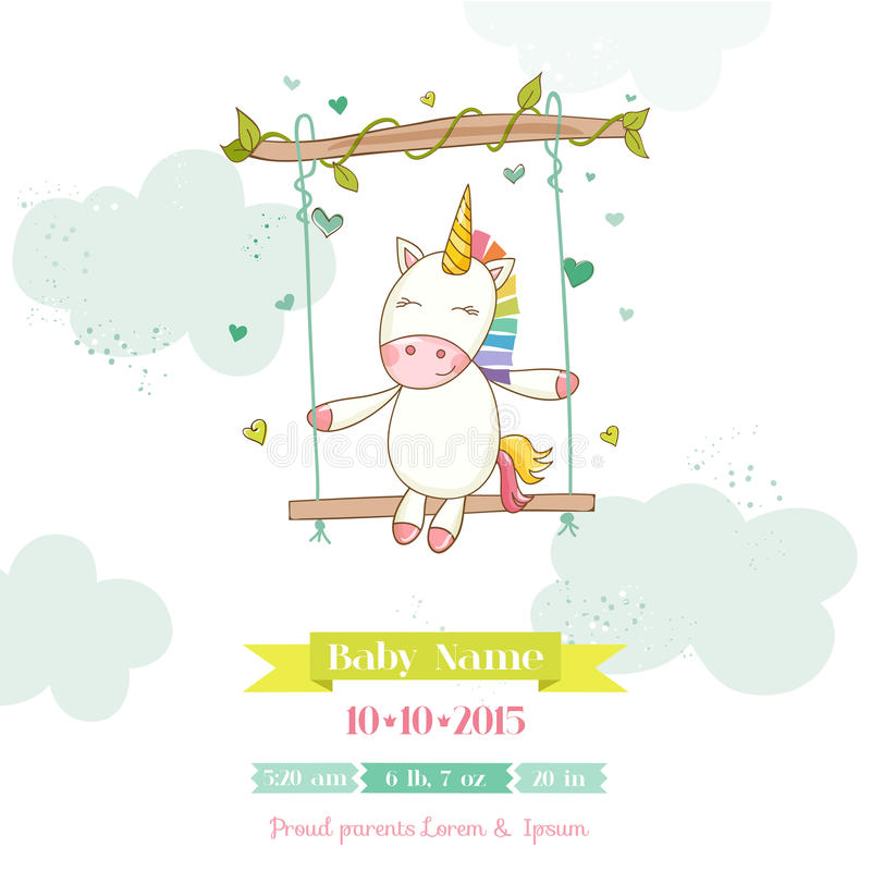 Ντους μωρών ή κάρτα άφιξης - κορίτσι μονοκέρων μωρών διανυσματική απεικόνιση