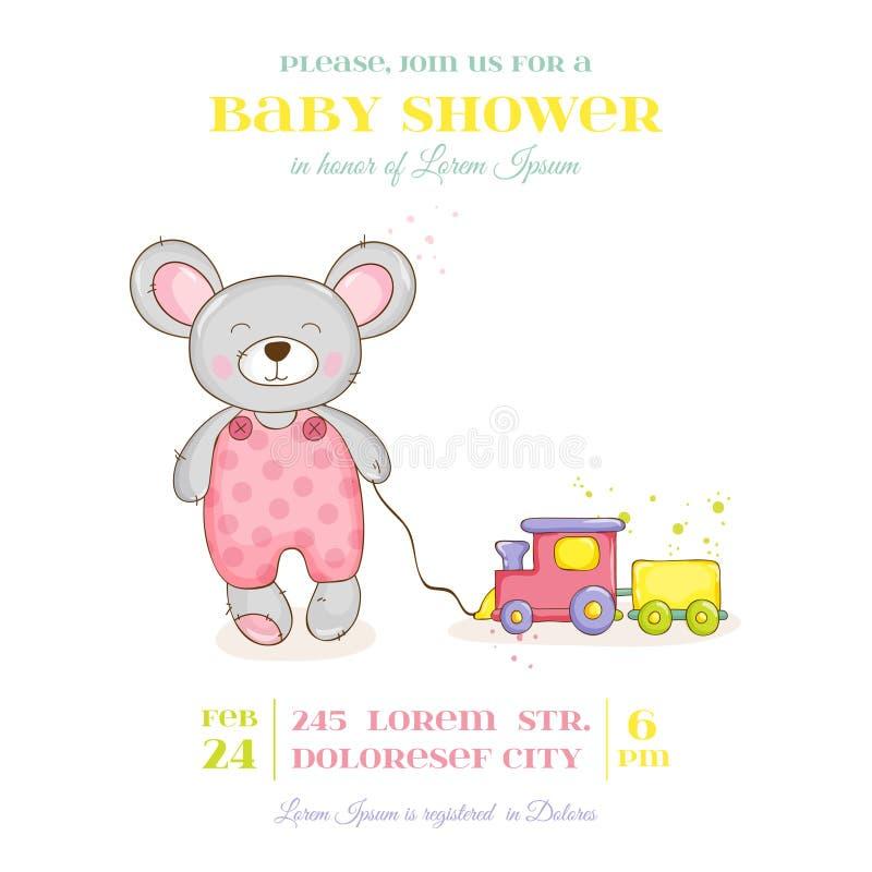Ντους μωρών ή κάρτα άφιξης - κορίτσι ποντικιών μωρών απεικόνιση αποθεμάτων
