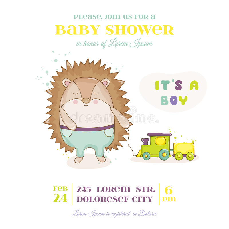 Ντους μωρών ή κάρτα άφιξης - σκαντζόχοιρος μωρών με το παιχνίδι τραίνων διανυσματική απεικόνιση
