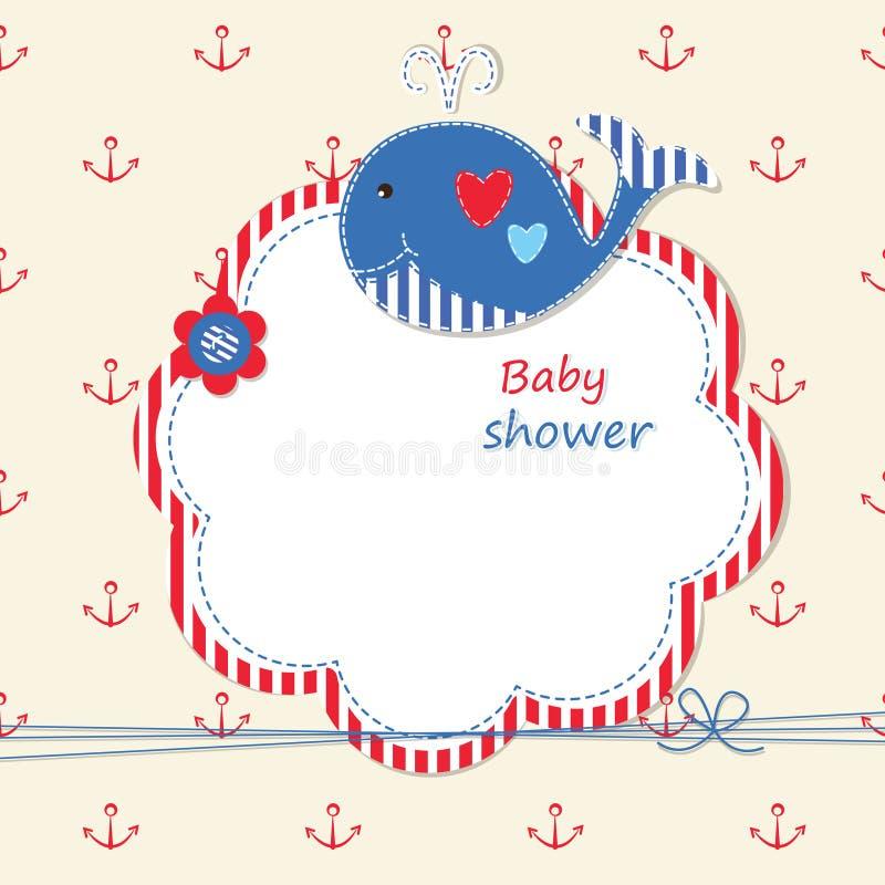 Ντους μωρών με τη φάλαινα διανυσματική απεικόνιση
