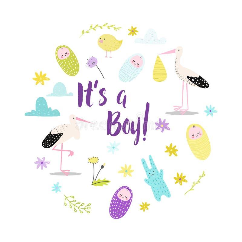 Ντους μωρών του μια κάρτα αγοριών Νεογέννητη πρόσκληση γιορτής γενεθλίων παιδιών με το χαριτωμένους πελαργό και το λαγουδάκι Παιδ διανυσματική απεικόνιση