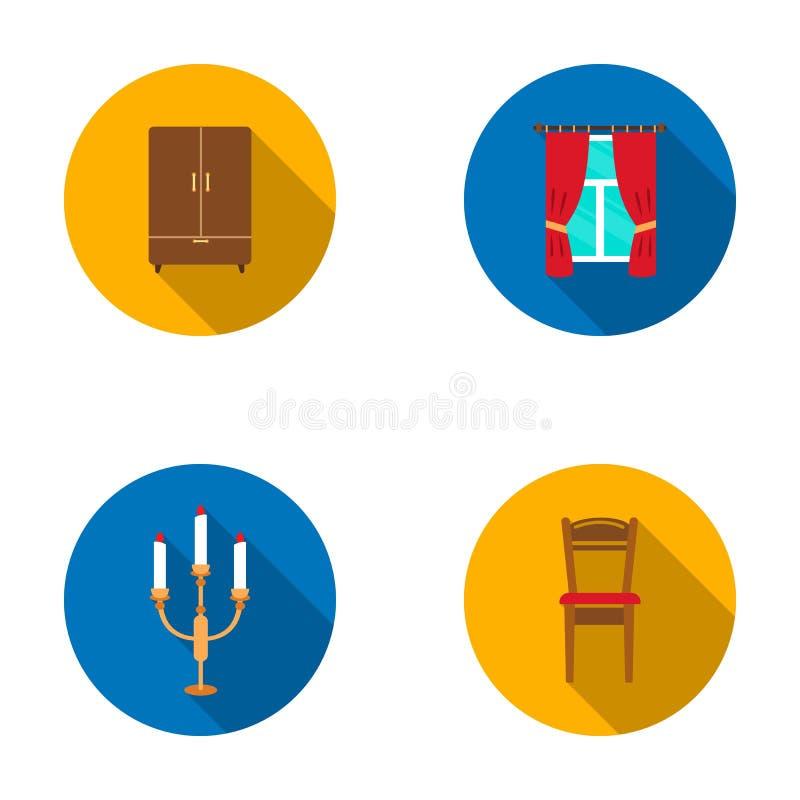 Ντουλάπα, παράθυρο με τις κουρτίνες, κηροπήγιο, καρέκλα Καθορισμένα εικονίδια συλλογής επίπλων στο επίπεδο απόθεμα συμβόλων ύφους διανυσματική απεικόνιση