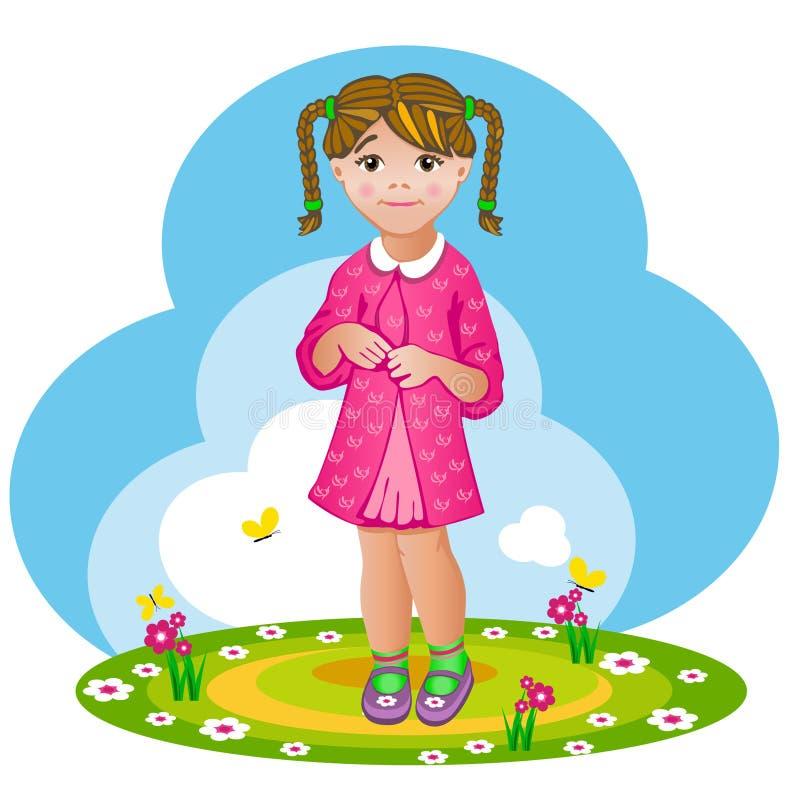 Ντροπαλό μικρό κορίτσι με τις πλεξίδες ελεύθερη απεικόνιση δικαιώματος