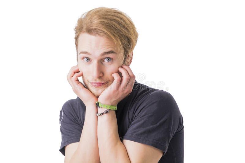Ντροπαλό ξανθό άτομο στοκ φωτογραφία με δικαίωμα ελεύθερης χρήσης
