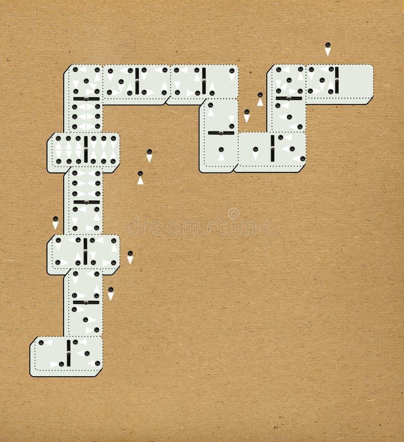 Ντόμινο με τα σημεία υπό μορφή τυποποιημένων ανδρών και γυναικών πλήθος προσωπικό Στο υπόβαθρο του κατασκευασμένου εγγράφου απεικόνιση αποθεμάτων
