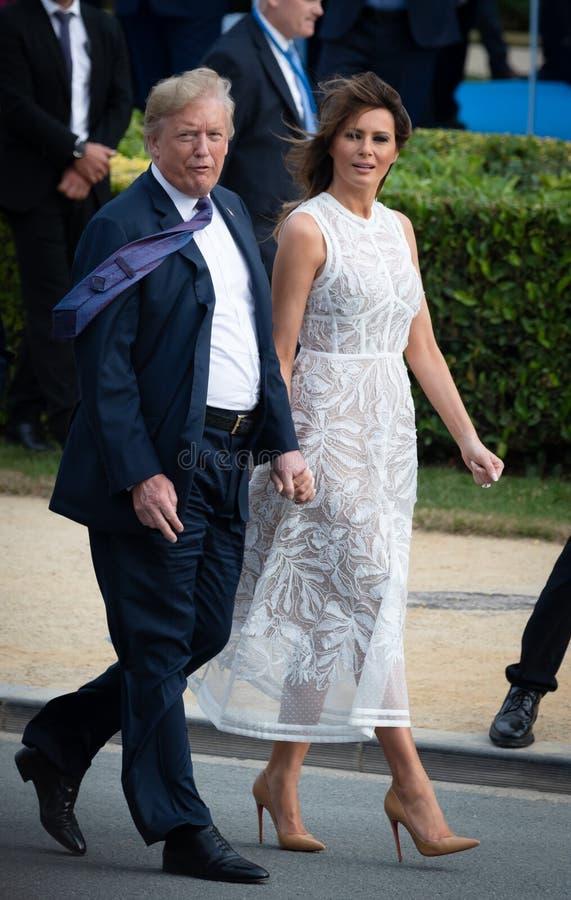 Ντόναλντ Τραμπ και Melania Trump στη σύνοδο κορυφής του ΝΑΤΟ στοκ εικόνες με δικαίωμα ελεύθερης χρήσης