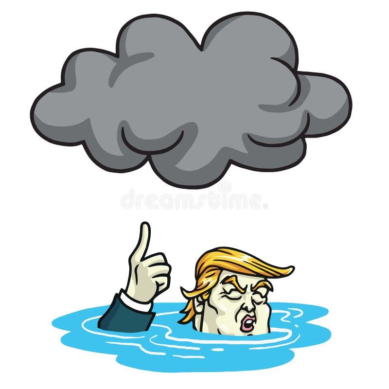 Ντόναλντ Τραμπ κάτω από τη μαύρη αιθαλομίχλη σύννεφων η αλλοδαπή γάτα κινούμενων σχεδίων δραπετεύει το διάνυσμα στεγών απεικόνιση διανυσματική απεικόνιση