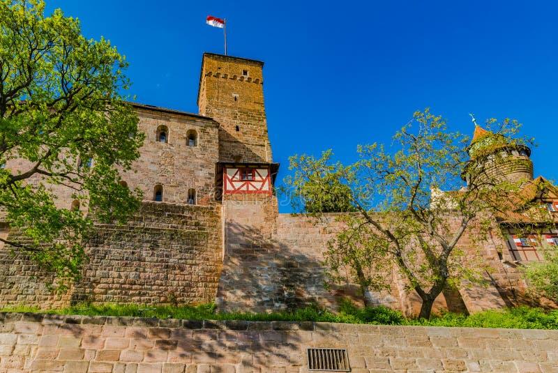 Νυρεμβέργη, το μεσαιωνικό αυτοκρατορικό κάστρο Kaiserburg στοκ εικόνες