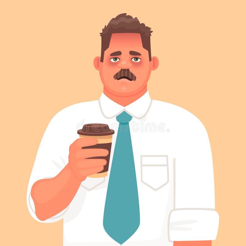 Νυσταλέος ή κουρασμένος υπάλληλος Μια απόλυση ή μια ασθένεια Λυπημένος επιχειρηματίας που κρατά ένα ποτήρι του καφέ απεικόνιση αποθεμάτων