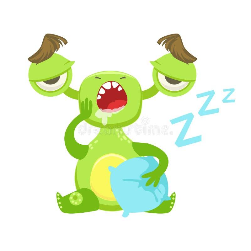 Νυσταλέο αστείο τέρας που χασμουριέται με το μαξιλάρι, πράσινη αλλοδαπή αυτοκόλλητη ετικέττα χαρακτήρα κινουμένων σχεδίων Emoji ελεύθερη απεικόνιση δικαιώματος