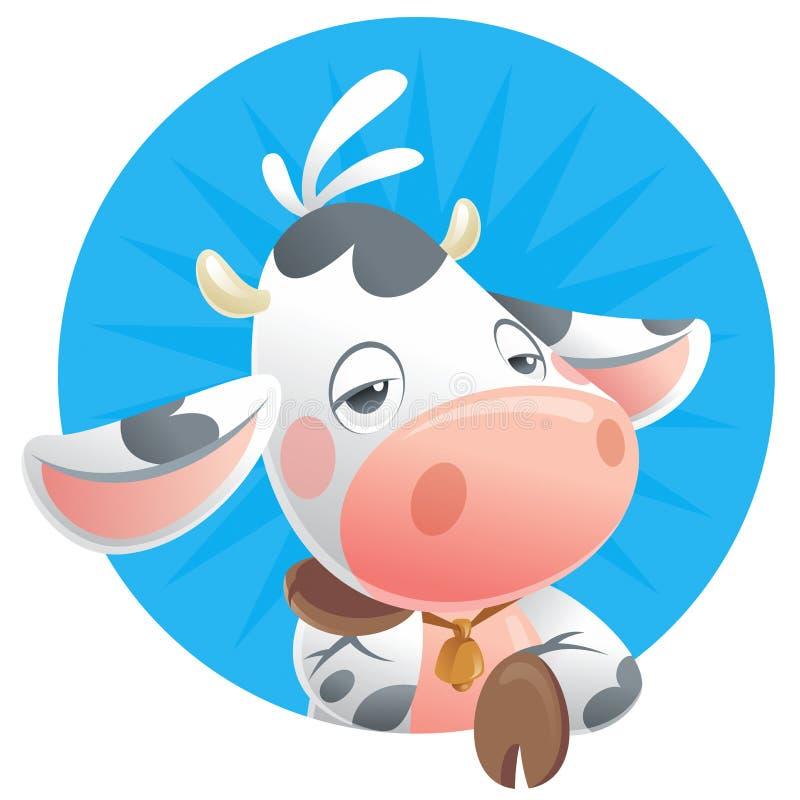 Νυσταλέο εικονίδιο σκέψης αγελάδων μωρών κινούμενων σχεδίων διανυσματική απεικόνιση