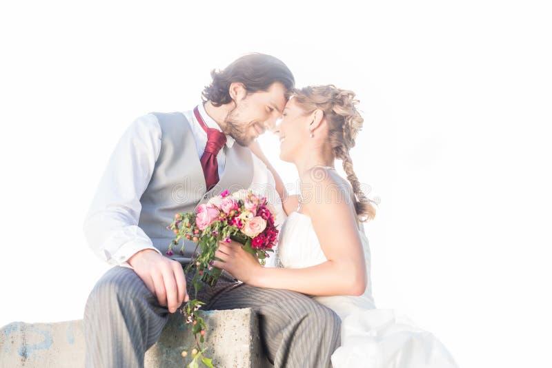 Νυφικό φίλημα ζευγαριού στον τομέα μετά από το γάμο στοκ εικόνα με δικαίωμα ελεύθερης χρήσης