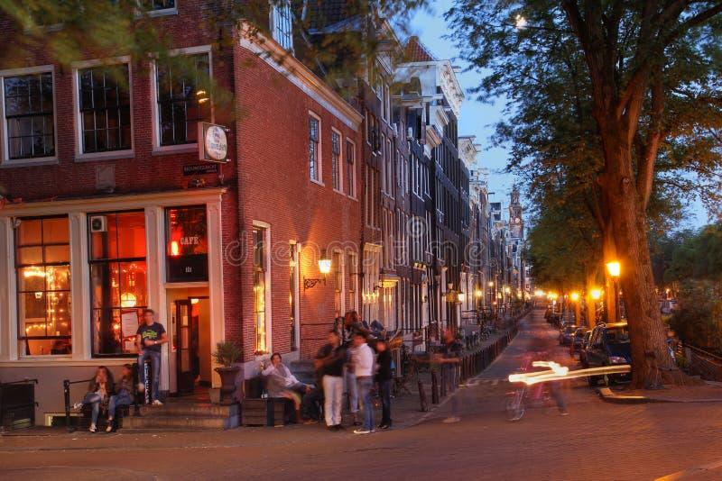 Νυχτερινή ζωή του Άμστερνταμ, οι Κάτω Χώρες στοκ φωτογραφία