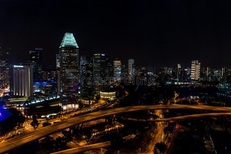 Νυχτερινή Σιγκαπούρη στοκ εικόνα με δικαίωμα ελεύθερης χρήσης