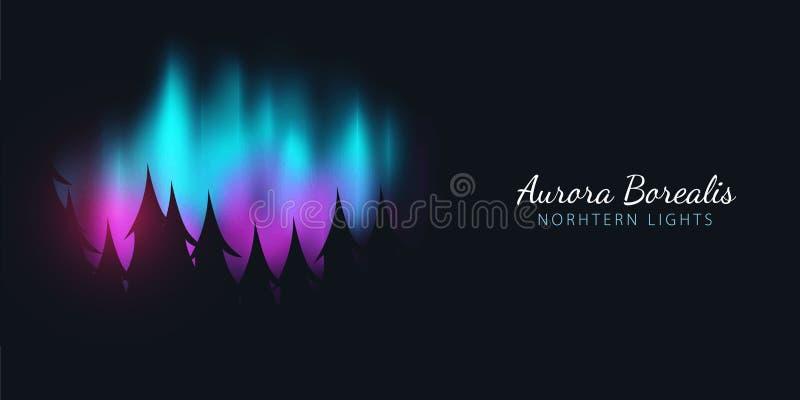 Νυχτερινός ουρανός, αυγή Borealis, βόρεια επίδραση φω'των στο σκοτεινό υπόβαθρο πίσω από τα δασικά ρεαλιστικά χρωματισμένα πολικά διανυσματική απεικόνιση