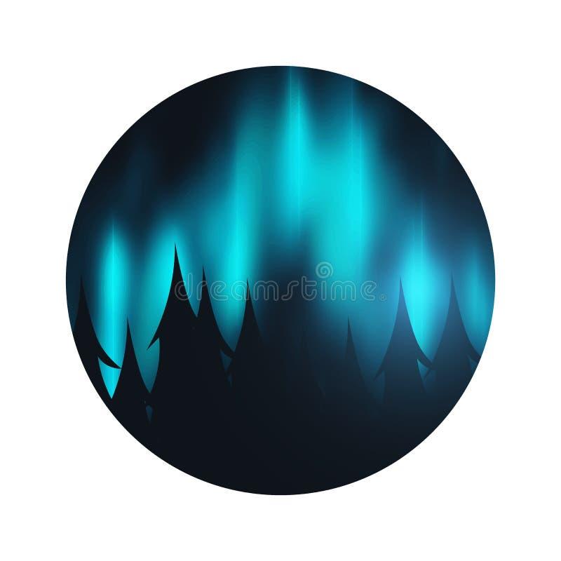Νυχτερινός ουρανός, αυγή Borealis, βόρεια επίδραση φω'των στο σκοτεινό υπόβαθρο πίσω από τα δασικά ρεαλιστικά χρωματισμένα πολικά απεικόνιση αποθεμάτων