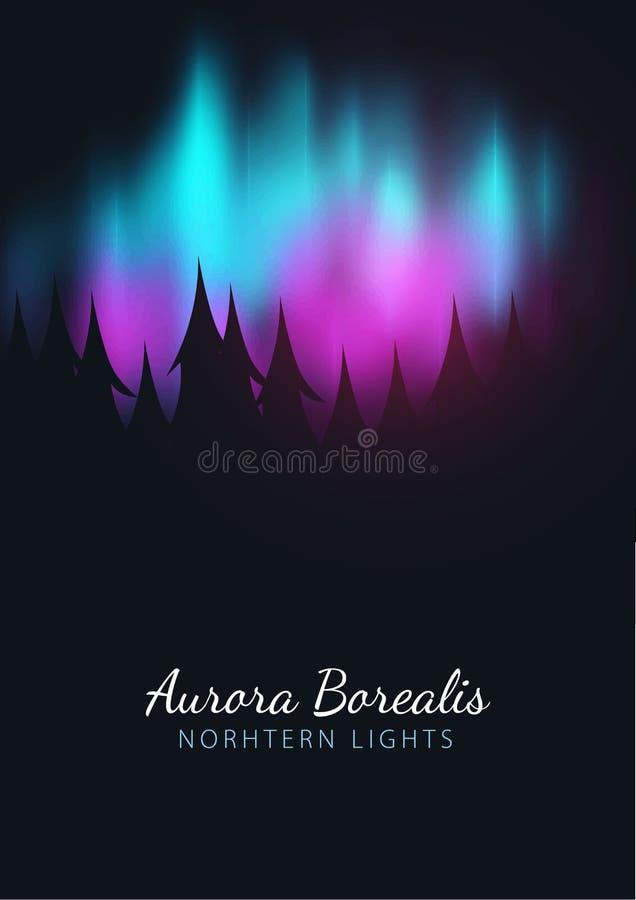 Νυχτερινός ουρανός, αυγή Borealis, βόρεια επίδραση φω'των στο σκοτεινό υπόβαθρο πίσω από τα δασικά ρεαλιστικά χρωματισμένα πολικά ελεύθερη απεικόνιση δικαιώματος