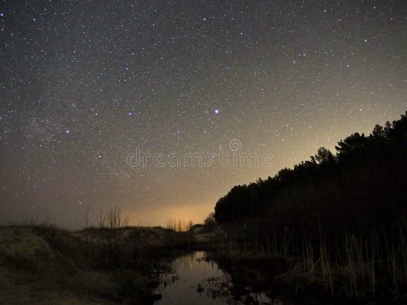 Νυχτερινός ουρανός και γαλακτώδη αστέρια τρόπων, αστερισμός του Κύκνου Cassiopea και αστερισμός Lyra στοκ εικόνα με δικαίωμα ελεύθερης χρήσης