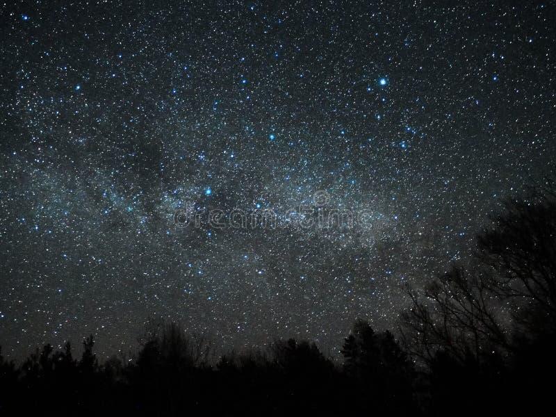 Νυχτερινός ουρανός και γαλακτώδη αστέρια τρόπων, αστερισμός του Κύκνου και αστερισμός Lyra στοκ εικόνα με δικαίωμα ελεύθερης χρήσης