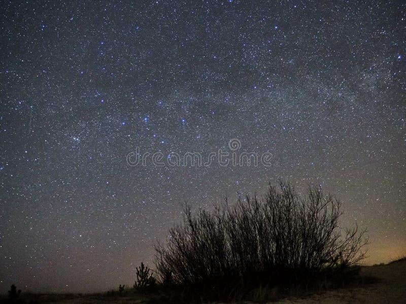 Νυχτερινός ουρανός και γαλακτώδη αστέρια τρόπων, αστερισμός Perseus πέρα από τη θάλασσα στοκ εικόνα με δικαίωμα ελεύθερης χρήσης