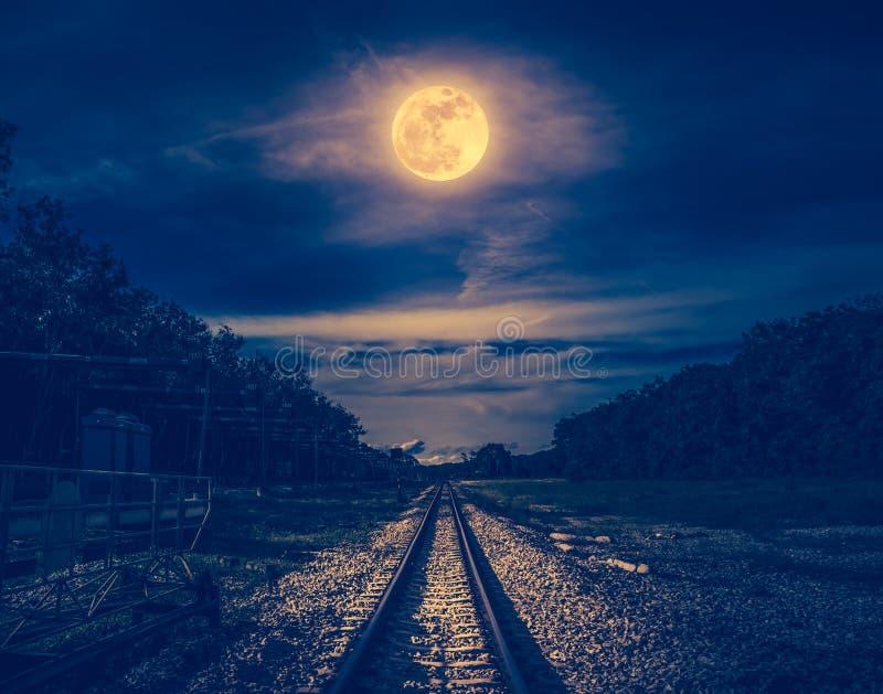 Νυχτερινός ουρανός και πανσέληνος επάνω από τις σκιαγραφίες των δέντρων και του σιδηροδρόμου στοκ φωτογραφία