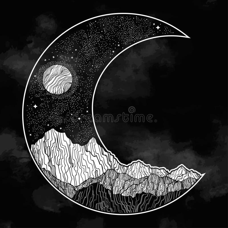 Νυχτερινός ουρανός και τοπίο βουνών υπό μορφή ημισεληνοειδούς φεγγαριού : Πρόσκληση Δερματοστιξία διανυσματική απεικόνιση