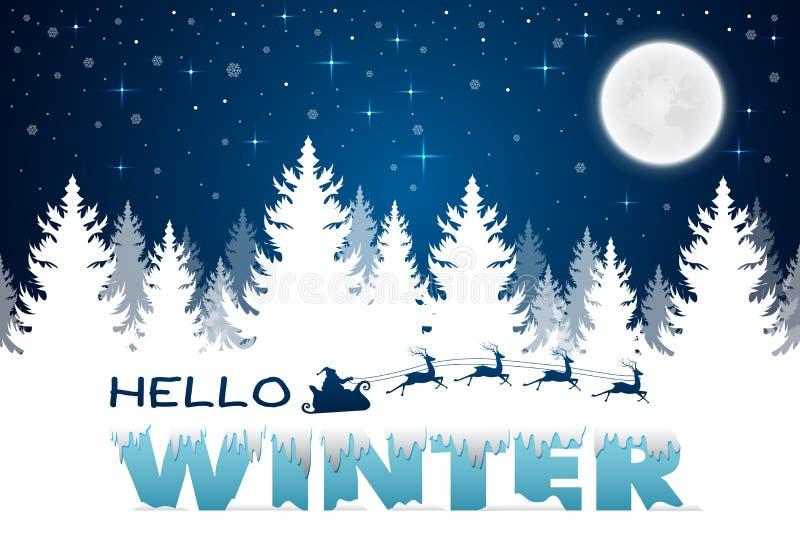 Νυχτερινός χαιρετισμός Χριστουγέννων Χειμερινό τοπίο με την κωνοφόρη πανσέληνο forestand διανυσματική απεικόνιση
