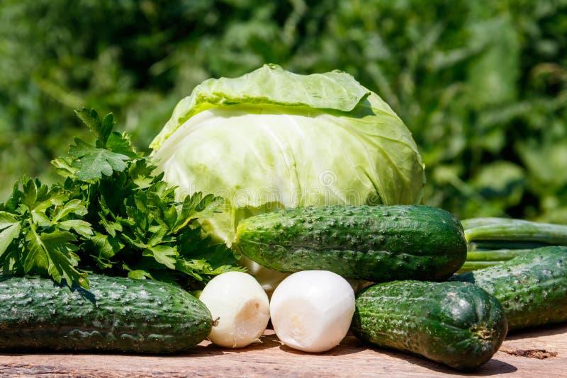 Νωπά πράσινα λαχανικά σε ξύλινο ψαλίδι στοκ φωτογραφία με δικαίωμα ελεύθερης χρήσης