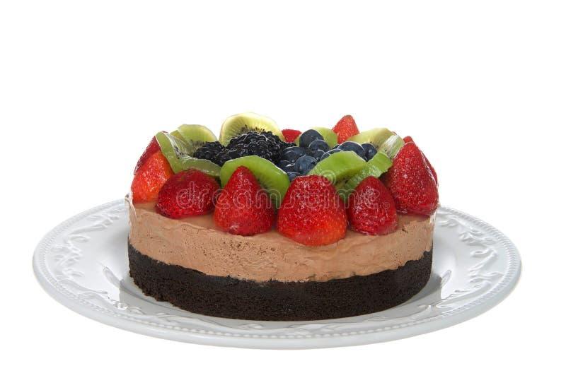 Νωποί καρποί σε ένα κέικ σοκολάτας που απομονώνεται στοκ φωτογραφίες με δικαίωμα ελεύθερης χρήσης