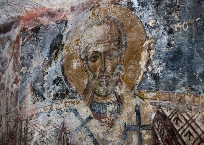 Νωπογραφία Άγιου Βασίλη σε Λα Chiesa Di SAN Lorenzo, λάμα Δ ` Antico Parco Rupestre στοκ εικόνα