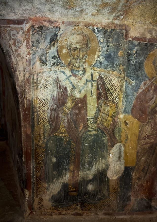 Νωπογραφία Άγιου Βασίλη σε Λα Chiesa Di SAN Lorenzo, λάμα Δ ` Antico Parco Rupestre στοκ φωτογραφία με δικαίωμα ελεύθερης χρήσης