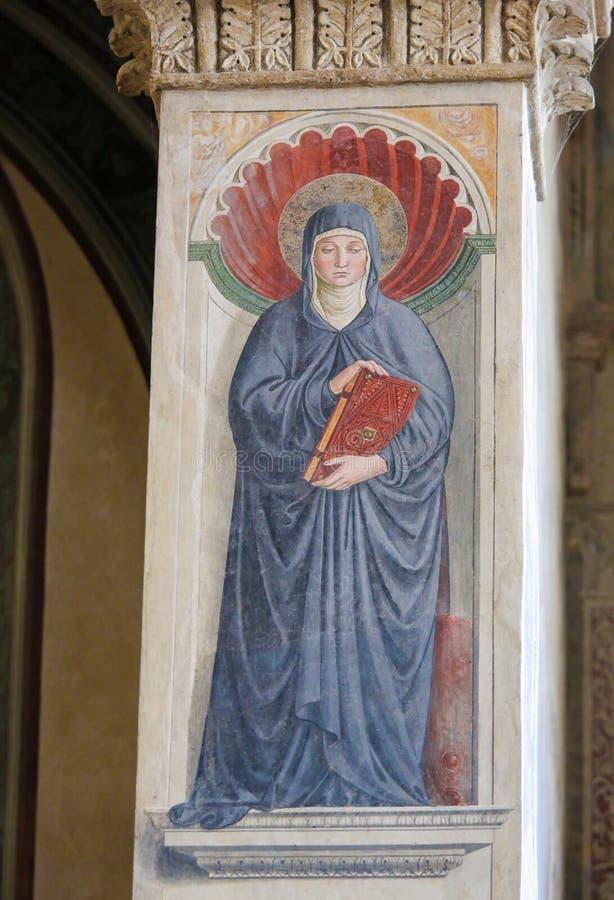 Νωπογραφία Αγίου Μόνικα στο SAN Gimignano, Ιταλία στοκ φωτογραφίες