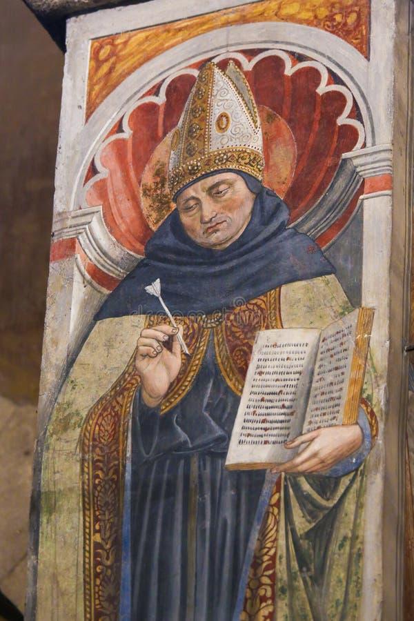 Νωπογραφία Αγίου Augustine στο SAN Gimignano στοκ φωτογραφίες