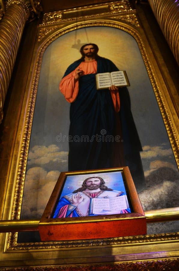 Νωπογραφία και ζωγραφική ενός ορθόδοξου Αγίου στην εκκλησία του ST Stephen στοκ φωτογραφίες