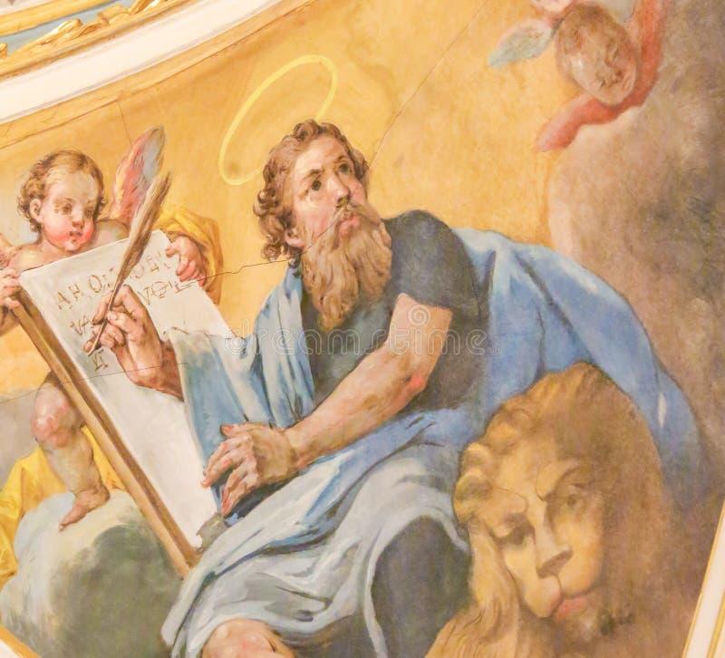 Νωπογραφία που απεικονίζει το σημάδι του ST ο Ευαγγελιστής στοκ φωτογραφία