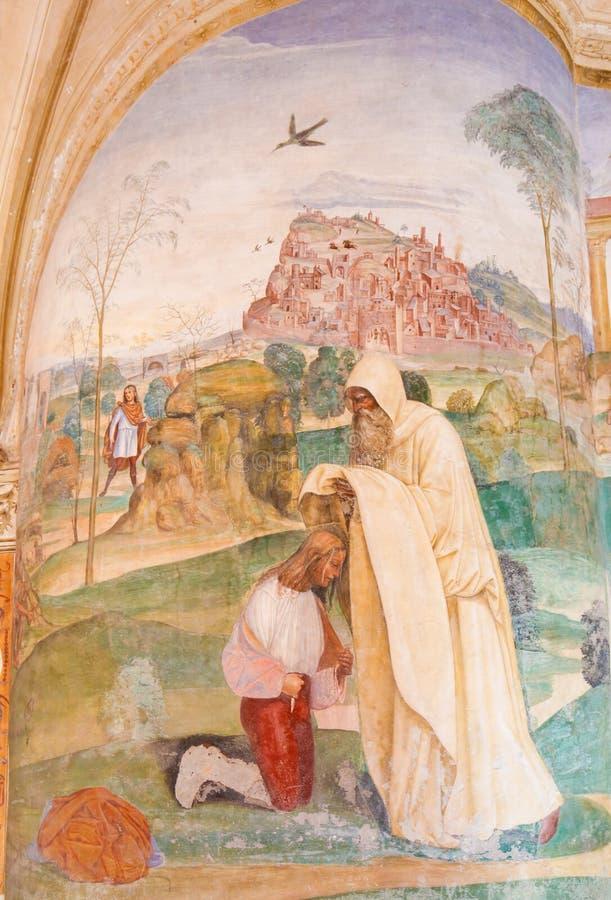 Νωπογραφία σε Monte Oliveto Maggiore - τα φορέματα Bene Romanus μοναχών στοκ εικόνα με δικαίωμα ελεύθερης χρήσης