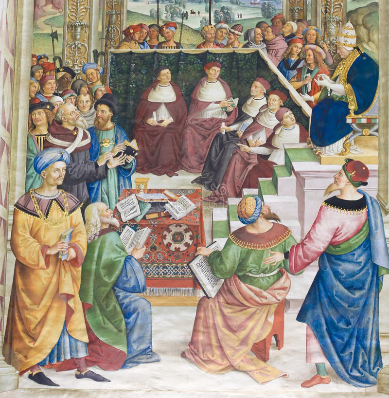 Νωπογραφία στη βιβλιοθήκη Piccolomini, Σιένα στοκ εικόνα