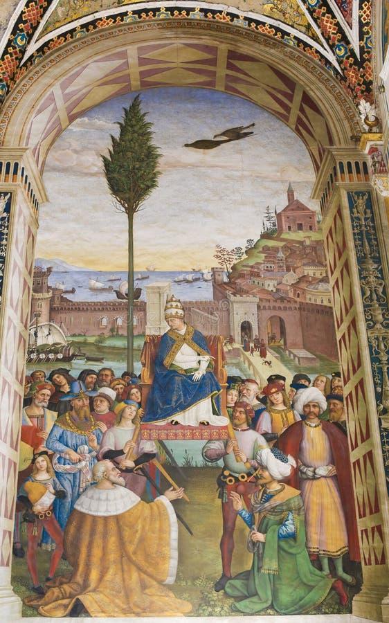 Νωπογραφία στη βιβλιοθήκη Piccolomini, Σιένα - έναρξη μιας σταυροφορίας στοκ φωτογραφία με δικαίωμα ελεύθερης χρήσης