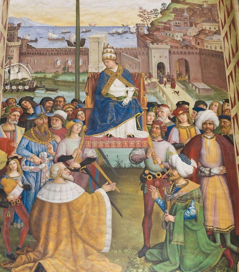 Νωπογραφία στη βιβλιοθήκη Piccolomini, Σιένα - έναρξη μιας σταυροφορίας στοκ εικόνες