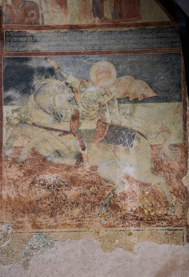 Νωπογραφία στη μεγάλη εκκλησία, MoraÄ  ένα μοναστήρι, Μαυροβούνιο στοκ εικόνα