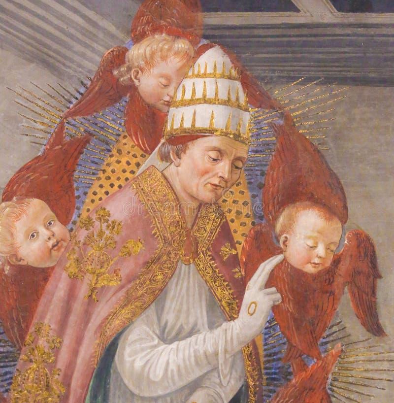Νωπογραφία στο SAN Gimignano - Άγιος Gregory ο μεγάλος στοκ εικόνες