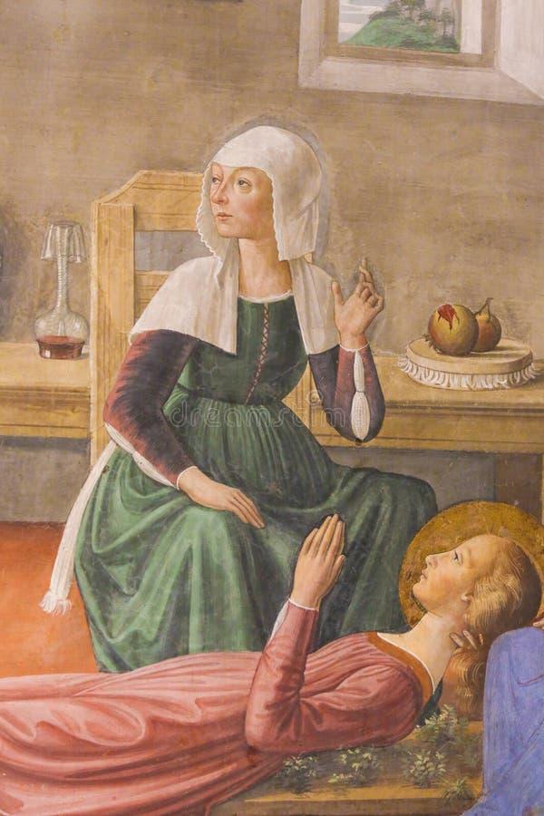 Νωπογραφία στο SAN Gimignano - θάνατος σε Άγιο Fina στοκ εικόνες με δικαίωμα ελεύθερης χρήσης